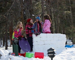 Girls Snow Wall