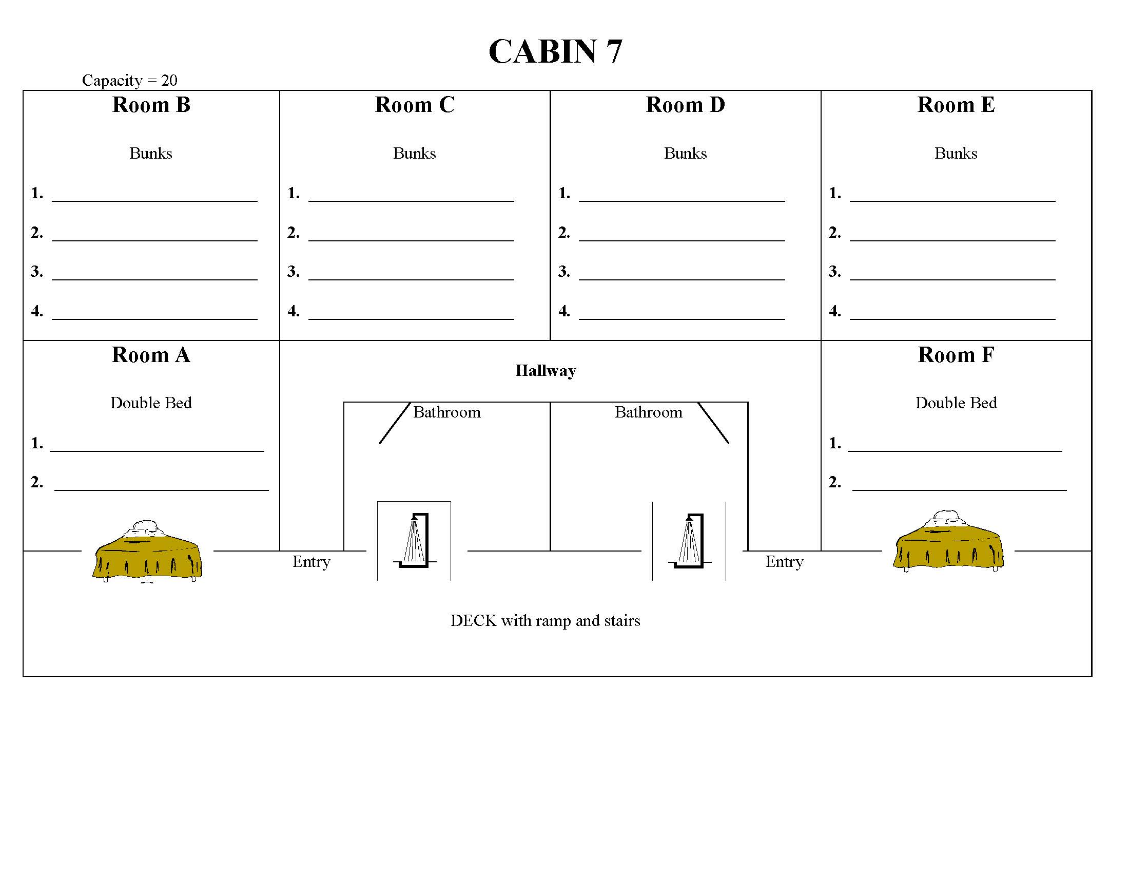 Floor Plan of Cabin 7
